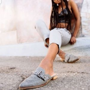 Nile Faux-Pear Embellished Flat in Gray